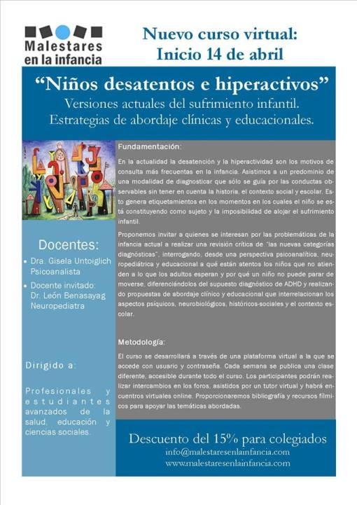 Niños desatentos e hiperactivos, versiones actuales del sufrimiento infantil